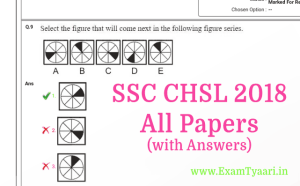 SSC CHSL 2018 Question papers with Answer Keys PDF