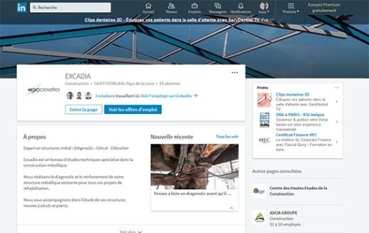 Page Entreprise LinkedIn Excadia Expert Structure métallique