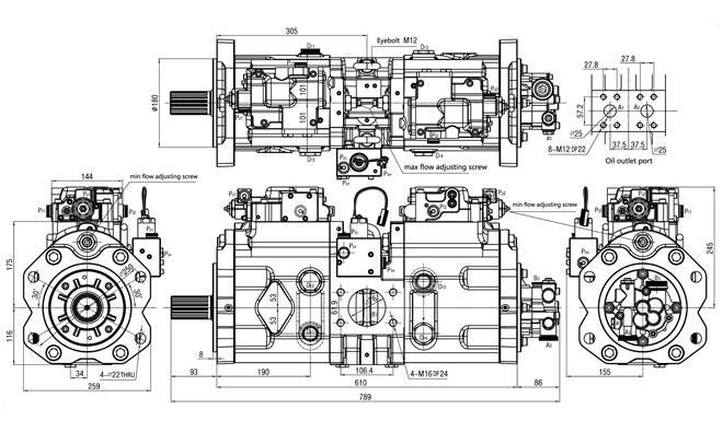 Main Piston K3V140 Kawasaki Hydraulic Pump 14524052 For