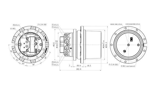 Final Drive Gearbox MG26VP weight 35kgs for Komatsu PC55