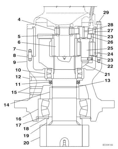 KRC0158 LN00111 Swing Drive Gear Box Applied Case CX210