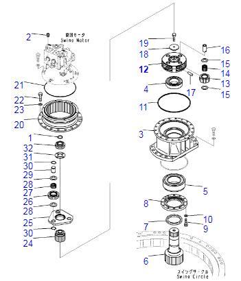 PC200-7 PC200-8 Komatsu Excavator Swing Gear Parts 22U-26