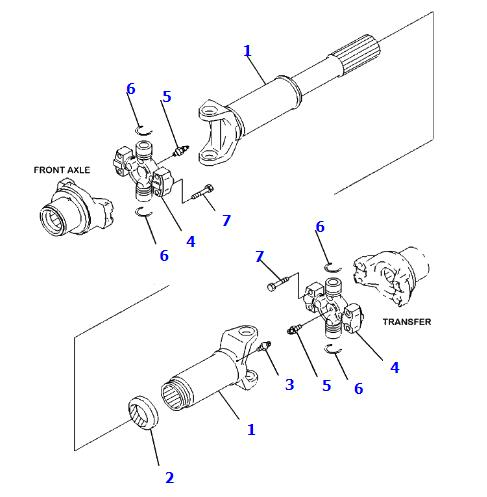 Komatsu WA320-6 WA250-6 Wheel Loader Propel Drive Shaft