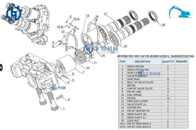 Komatsu Excavator Hydraulic Pump , PC200LC-8 Main