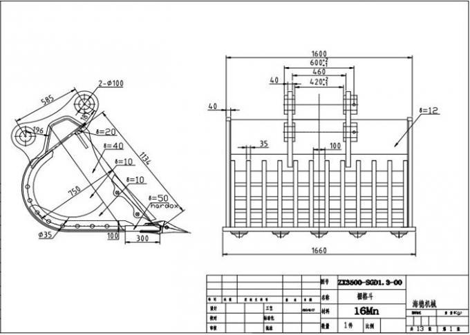 Long Durability Hardox450 Skeleton Rock Bucket for Hitachi