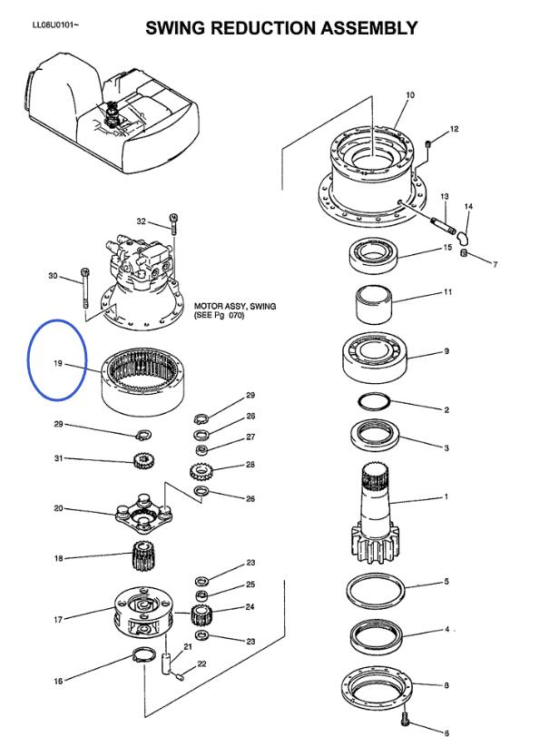 Aftermarket Swing Reducer Planetary Gear Parts