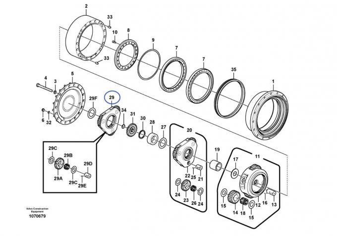 Volvo Excavator Gear Parts VOE14570931 EC240C EC290B
