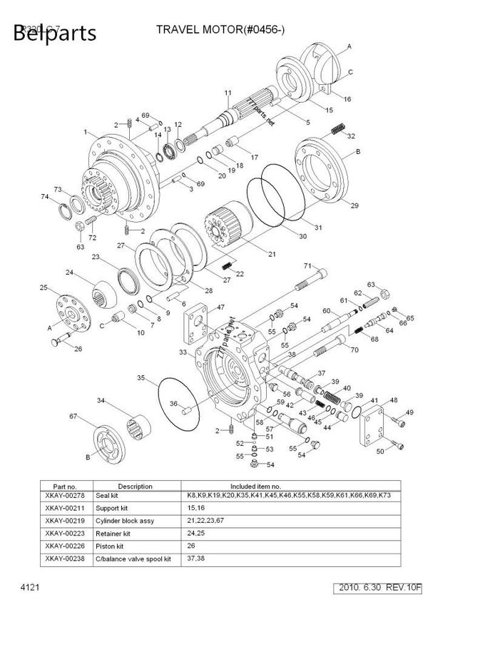 Hyundai Travel Motor Assy 31N9-40022 , R320LC-7 R320LC-7A