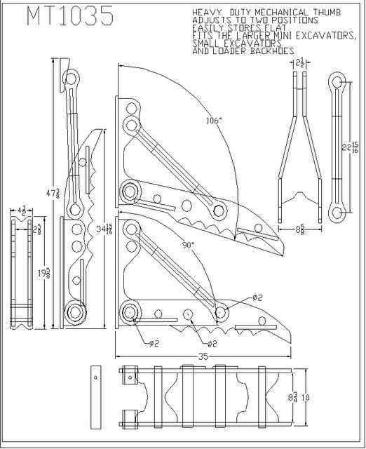 MT1035 line drawing: Heavy Duty Mechanical Thumb Adjusts
