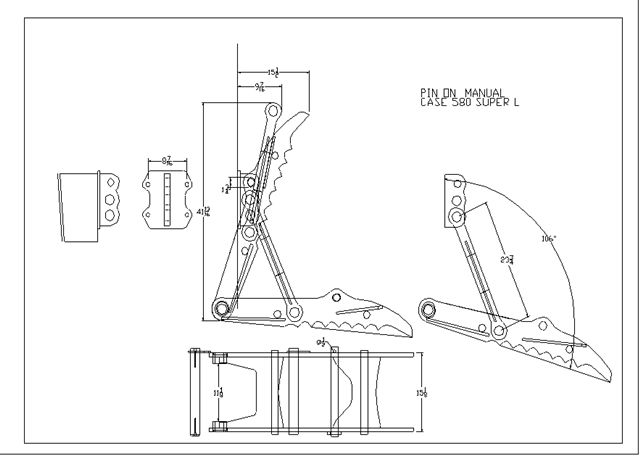 THUMB FOR CASE 580 MANUAL SUPER L LINE DRAWING #pin