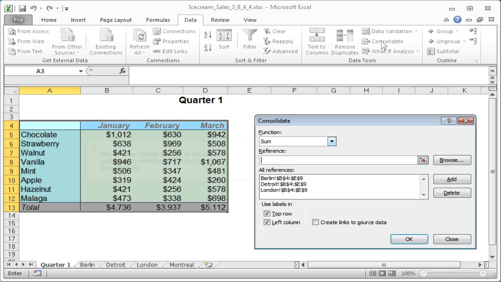 How To Modify An Excel Consolidation Table