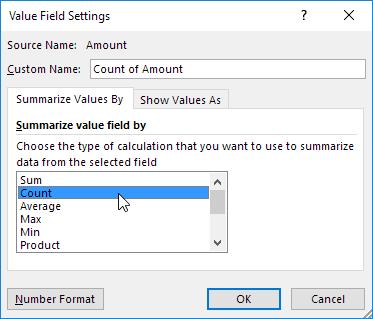 Summarize Value Field By