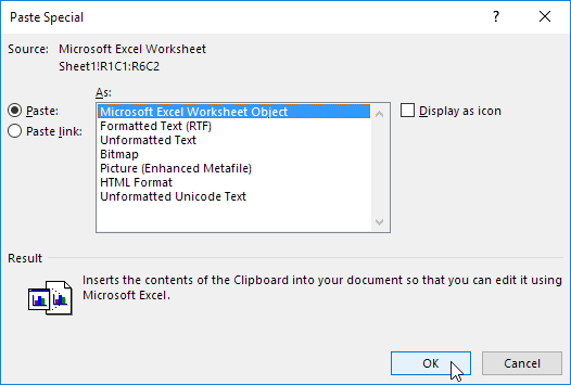 Click Paste, Microsoft Excel Worksheet Object