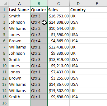 Moved Column in Excel