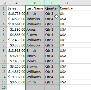 Moved Columns in Excel