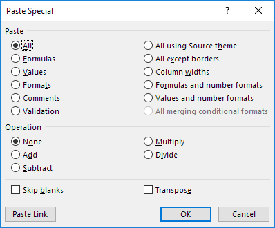 Paste Special Dialog Box in Excel