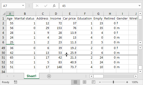 Use the Split Bar in Excel