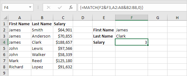 Two Column Lookup In Excel