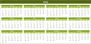 Annual calendar 2015 Excel template