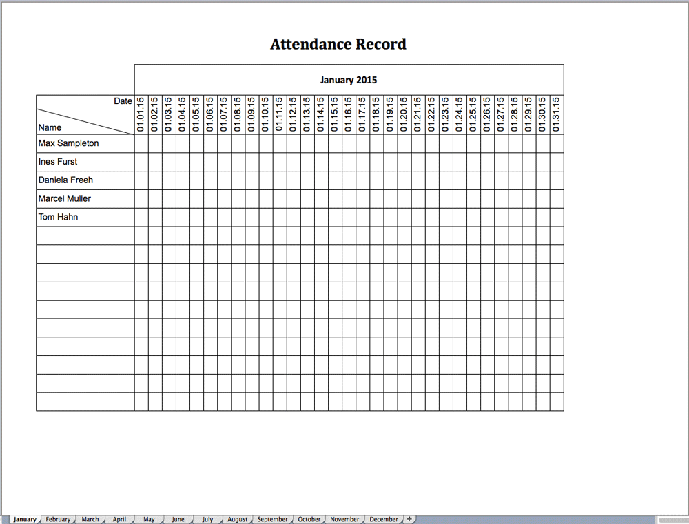 Excel template for attendance record