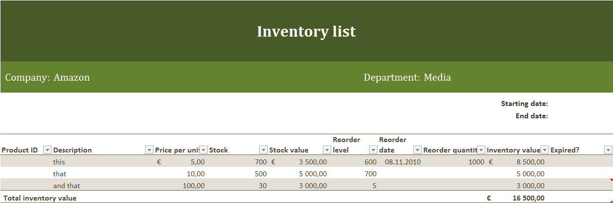 Inventory List – Excel Inventory List Template