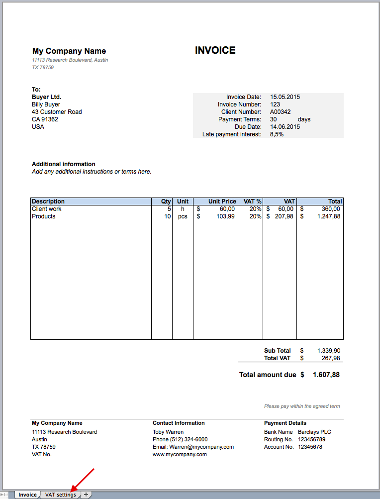 Invoice Excel Template For Free  Invoice Excel Template