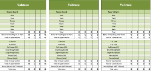 New Yahtzee-template