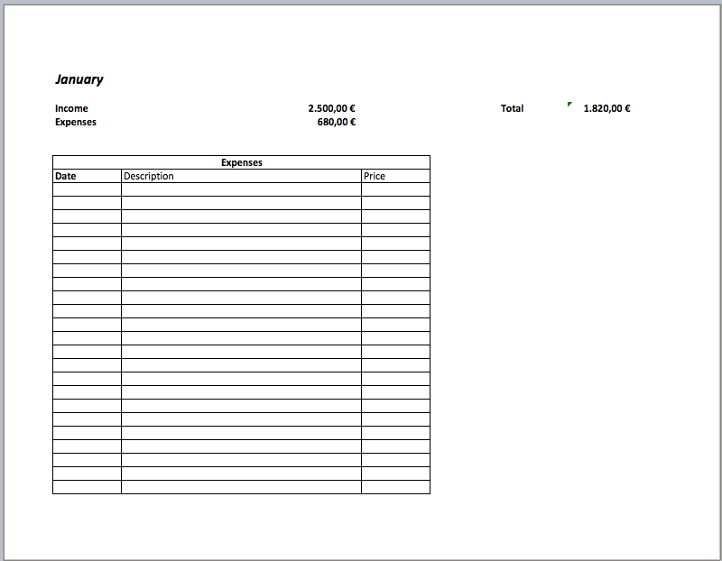 Budgettemplate – Simple Budget Template