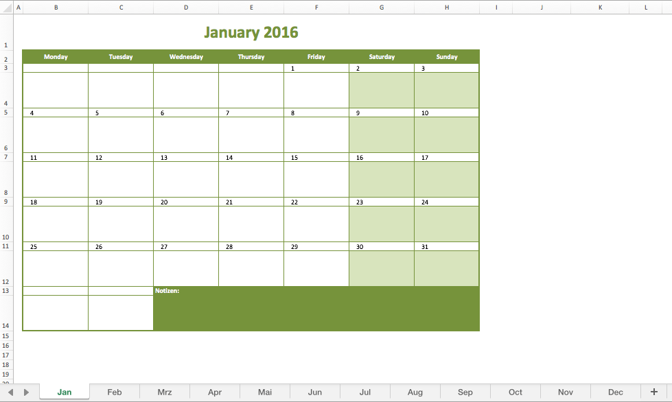 Monthly Calendar 2016 Excel – Monthly Calendar Template