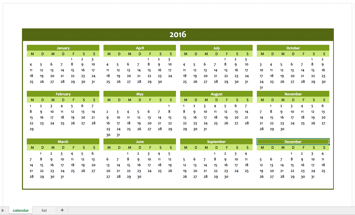Yearly calendar 2016 for free excel templates for every for Yearly vacation calendar template