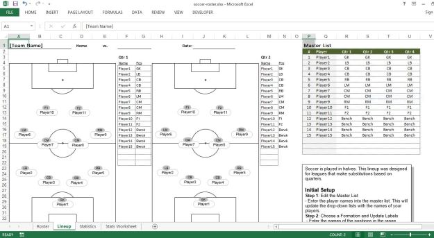 Soccer roster free excel template excel templates for for Soccer team positions template