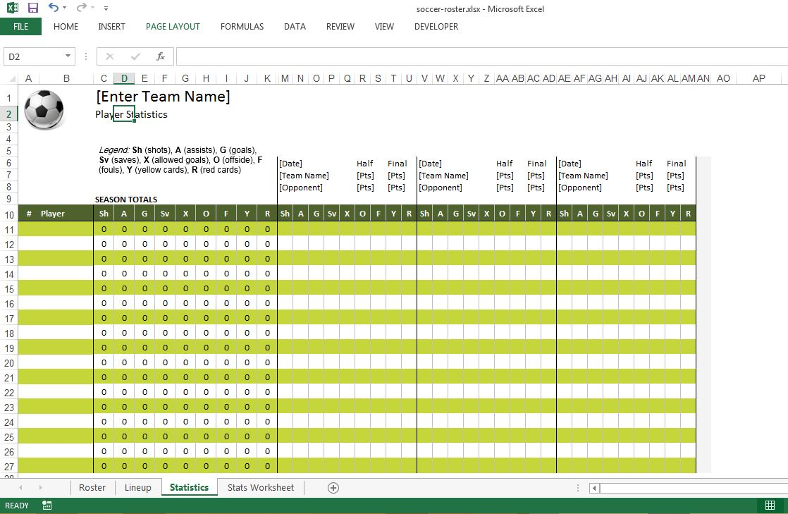 Soccer Roster Excel Template Statistics Sheet  Free Roster Templates