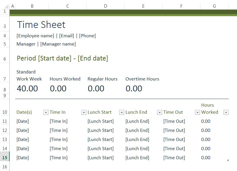 excel template for timesheet
