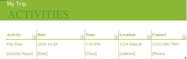 Activities Worksheet