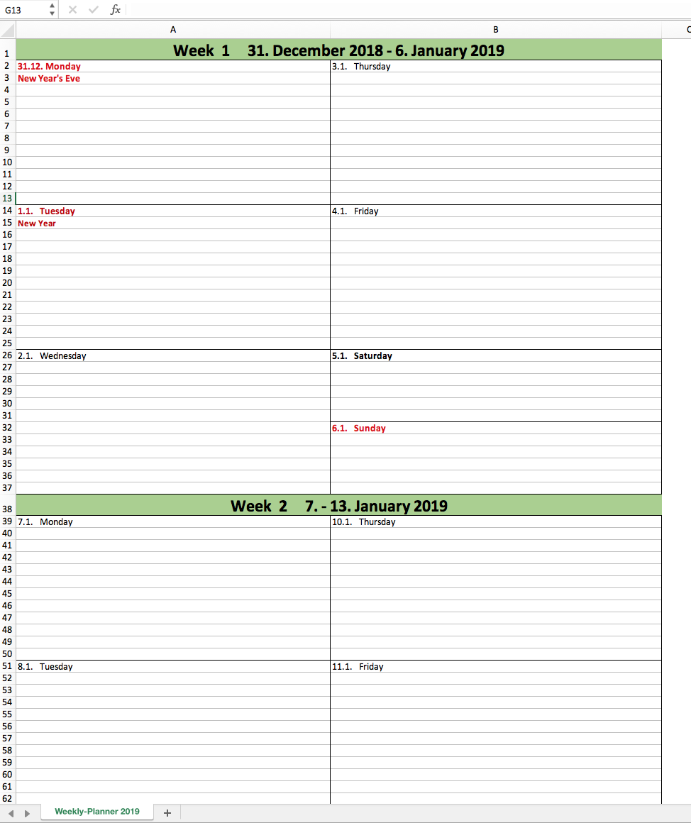 daily planner 2019 template