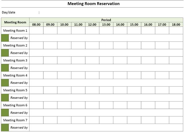 16/09/2019· meeting room reservation template excel ensures great visibility over the fact, that you are going to achieve your objective through timely conference and training programs once the meeting room has been reserved. Meeting Room Booking Reservation Template Excel