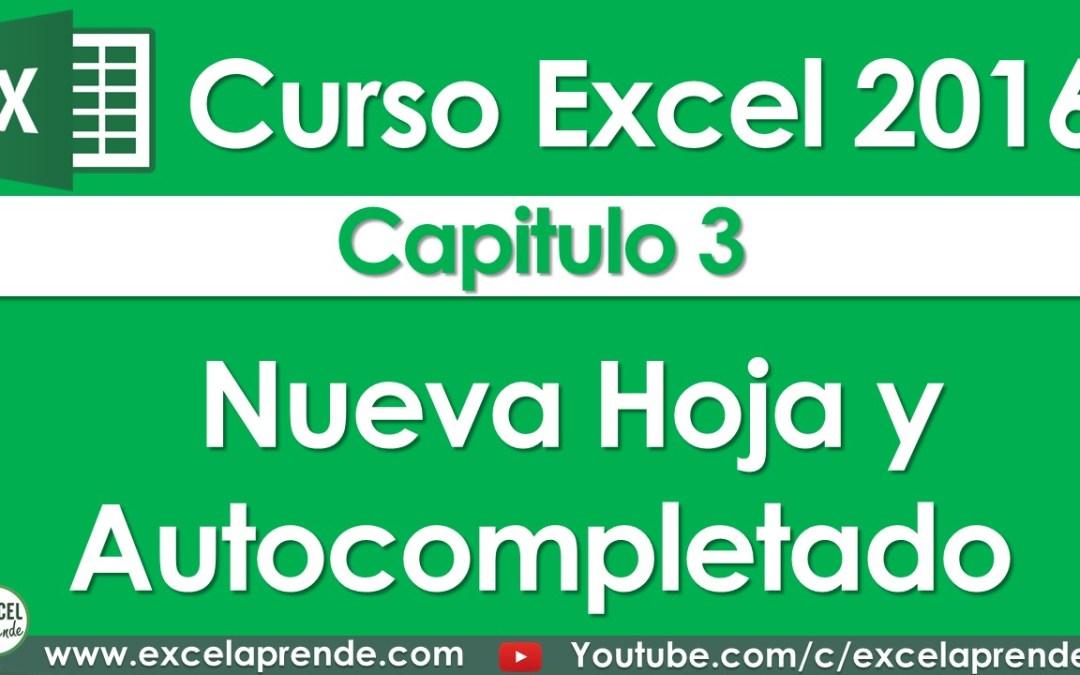Curso Excel 2016 – Capitulo 3 – Nueva Hoja y Autocompletado   Excel Aprende