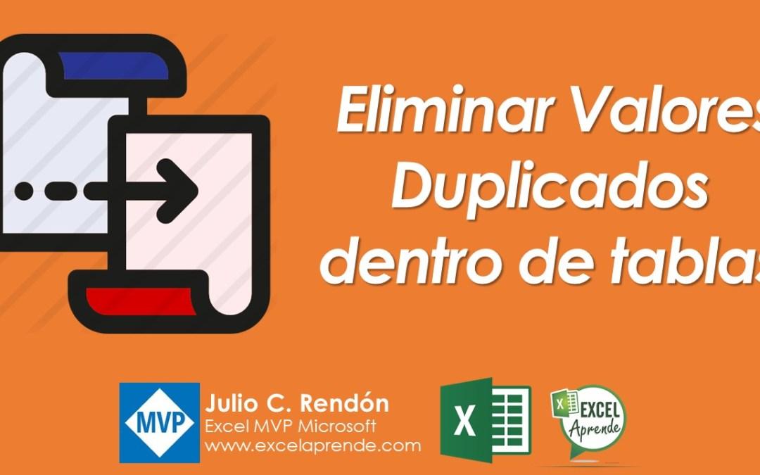 Eliminar Valores Duplicados dentro de tablas | Excel Aprende