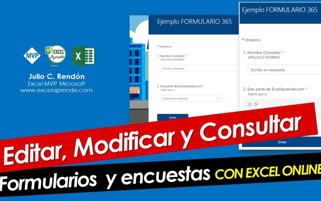Editar, Modificar y Consultar Formularios con EXCEL ONLINE | Excel Aprende