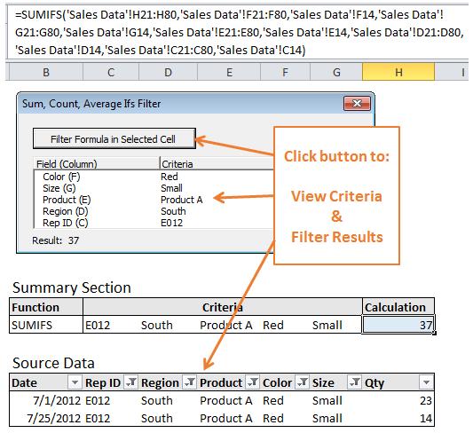 Ifs Filter Add-in Screenshot