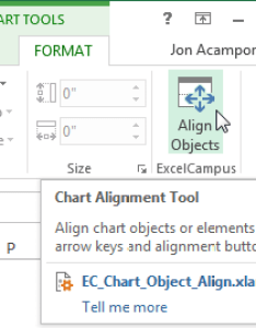 Chart alignment add in button also move and align titles labels legends with the arrow keys rh excelcampus