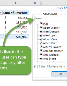 Add  search box to the slicer filter it quickly also how pivot tables rh excelcampus