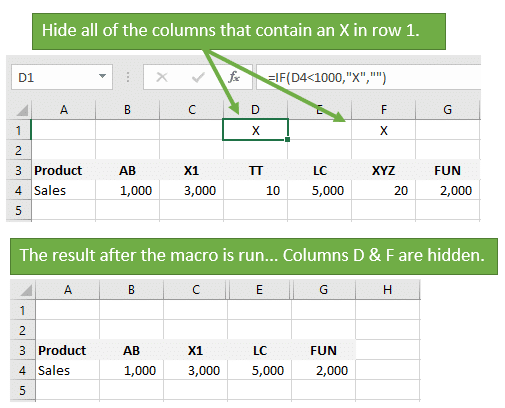 VBA Macro to Hide All Columns That Contain a Value in a Cell - Excel ...