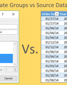 Pivot table date groups vs source data in excel also grouping dates  versus the rh excelcampus