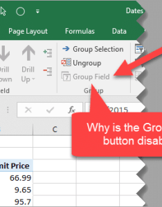Pivot table group field button disabled not working also why the is for dates excel rh excelcampus