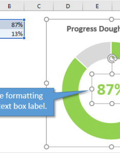Progress doughnut chart formatting and text box label also with conditional in excel rh excelcampus