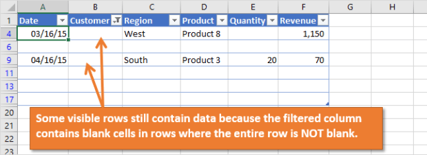 Filter for Blanks in a column leaves some data rows visible