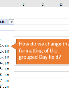 Pivot table grouped day field number formatting also how to change date for fields excel rh excelcampus