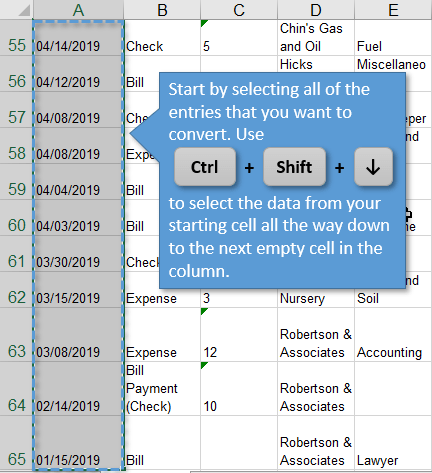 Select All of the Data in a Column