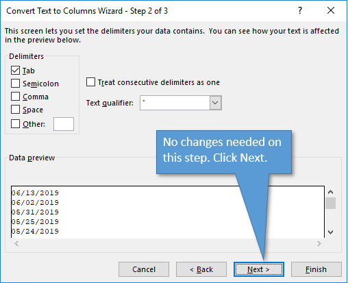 Step 2 of Text to Columns Wizard